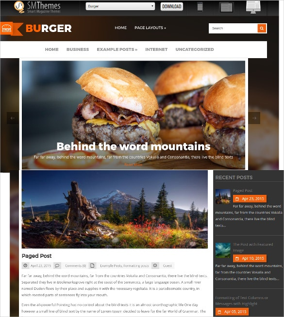 Free Social Media WordPress Website Theme For Restaurant