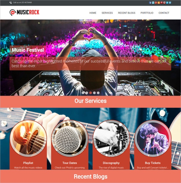 Music Band DJ WordPress Website Theme $79