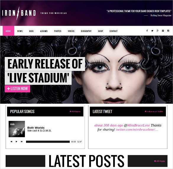 music band artist dj wordpress website theme 59