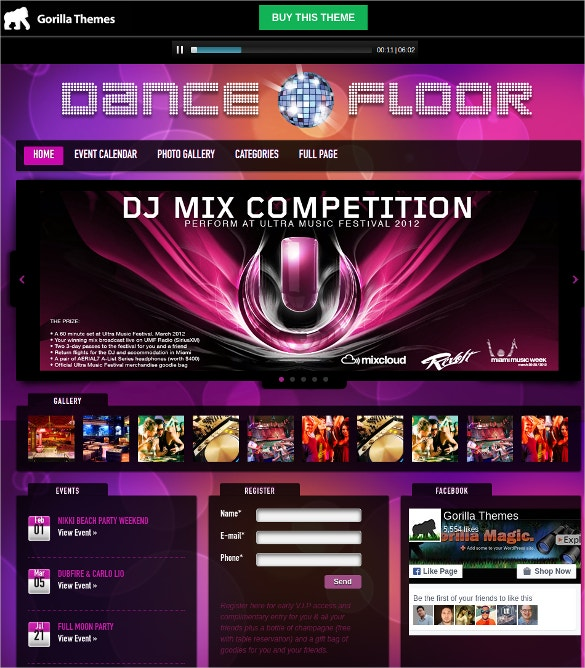 design wordpress dj website theme 39