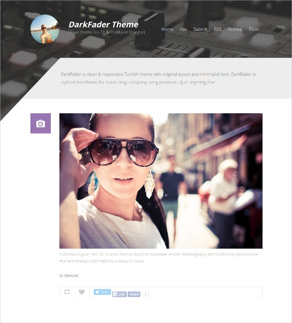clean tumblr dj blog website theme 9