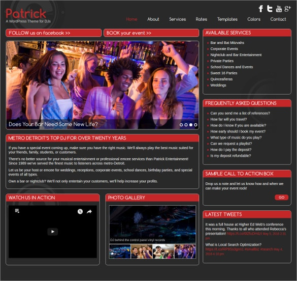 Responsive DJ WordPress Website Theme