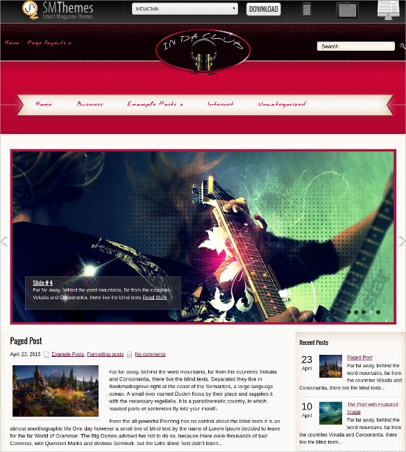 free design dj music website theme