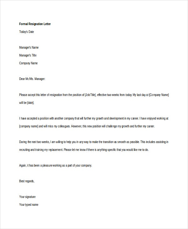10 Resignation Letter Templates Free Sample Example Format – Formal Resignation Letters