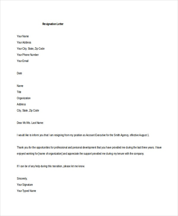 Resignation Format Letter Of Resignation Format Resignation – Sample of Professional Resignation Letter