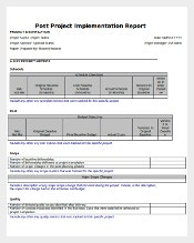 Post Project Implementation Template