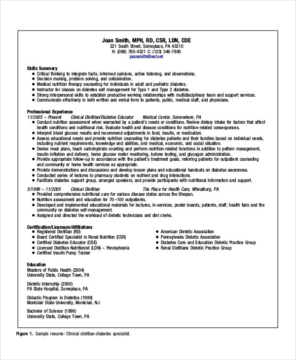 sample dietitian resume templates