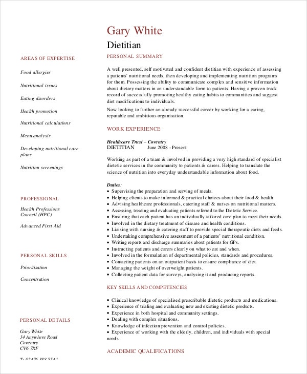 Dietitian Resume Template - 6+ Free Word, Pdf Documents Download