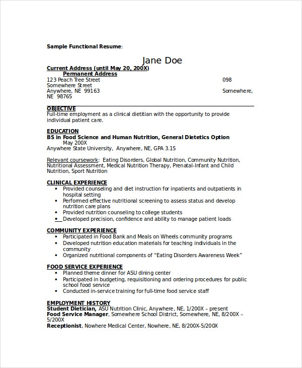 Beautiful Sample Dietitian Resume