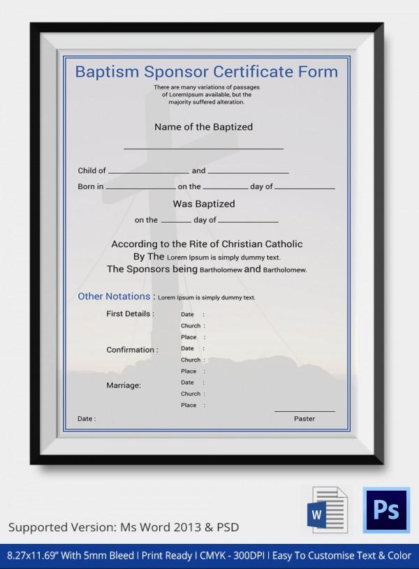 Baptism Sponsor Certificate Form