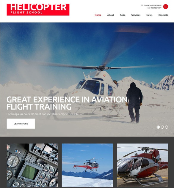 Flight School Responsive Website Template $75