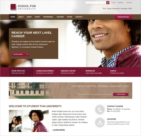 University & School Website Theme $17