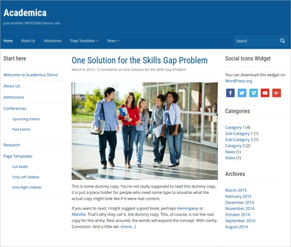 Academica School Blogging Website Theme