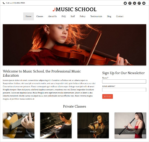 Music School WordPress Website Theme $75