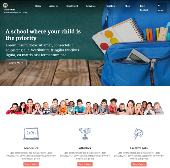 Responsive WordPress School Website Theme $41