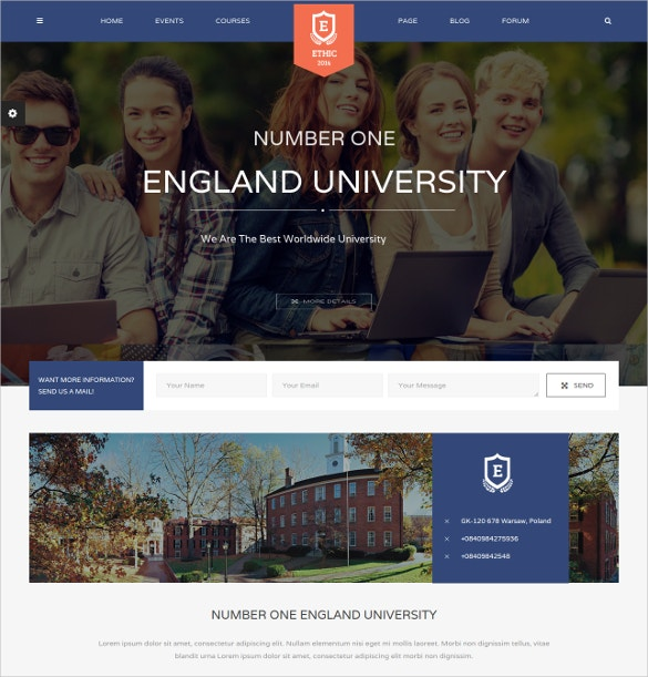 Student School WordPress Website Theme $58