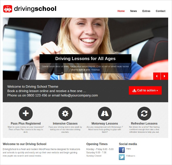Quality Website For Driving School Theme $49
