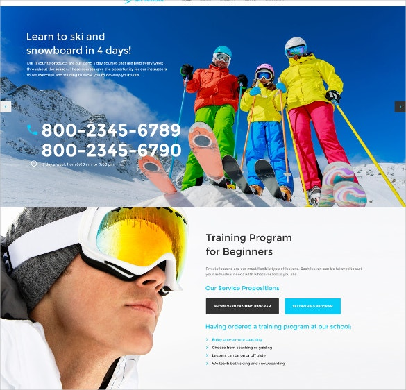 skiing school website template 69
