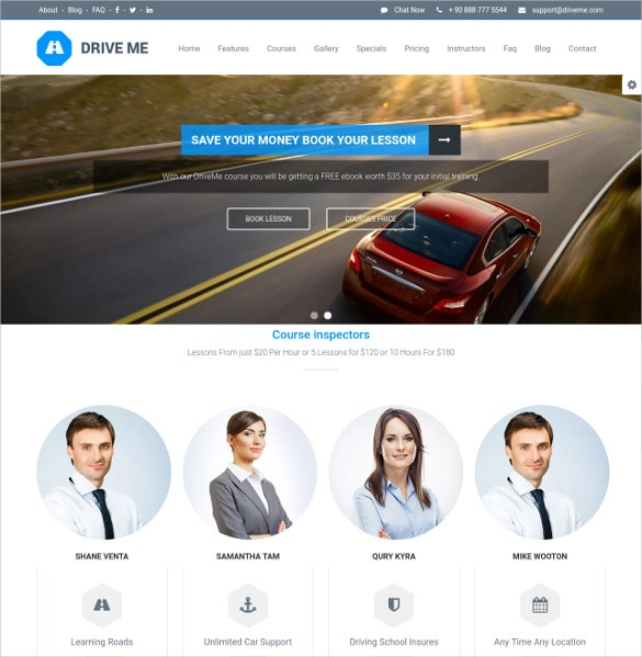 driving school wordpress website theme 49