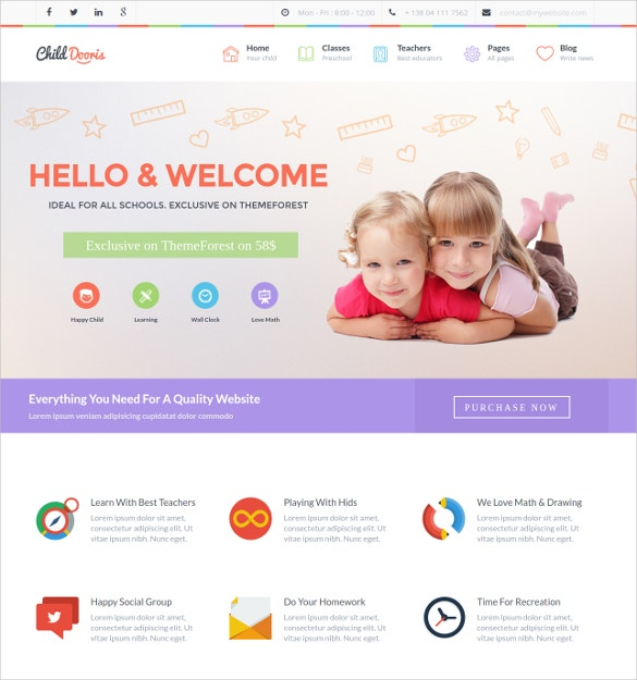 Kindergarten & School WordPress Website Theme $59