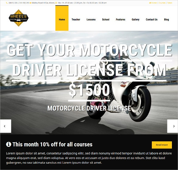 WordPress Driving School Website Theme $69