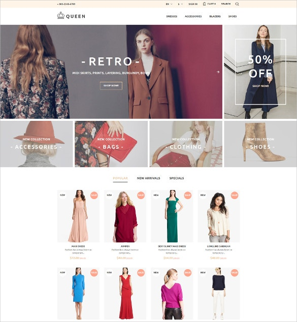 Fashion Womens Clothes PrestaShop Website Theme $139