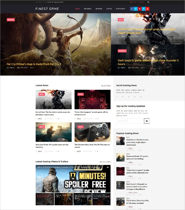 Game Portal Responsive WordPress HTML5 Theme