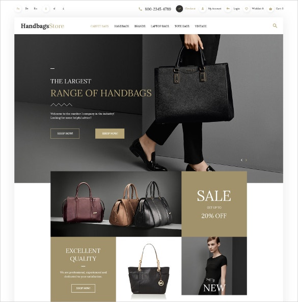 Fashion Handbags OpenCart Website Template $89