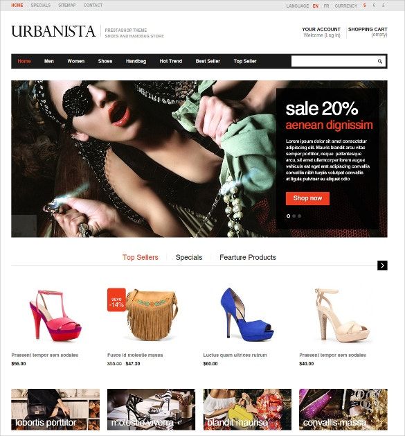 Fashion Boutique Prestashop Website Theme $65