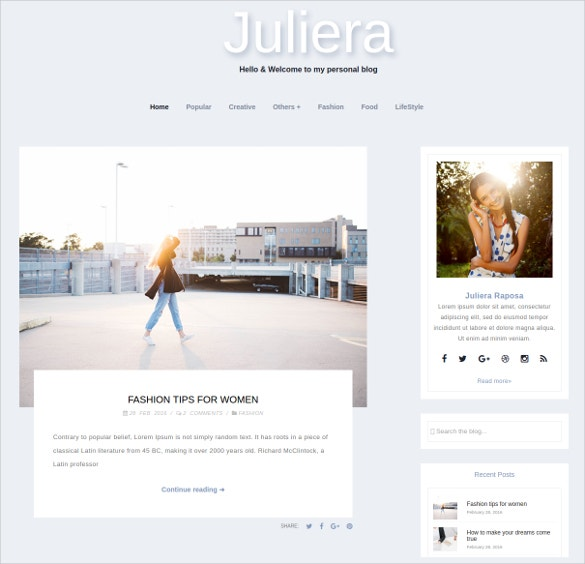 Fashion Portfolio WordPress Blog Website Theme $5