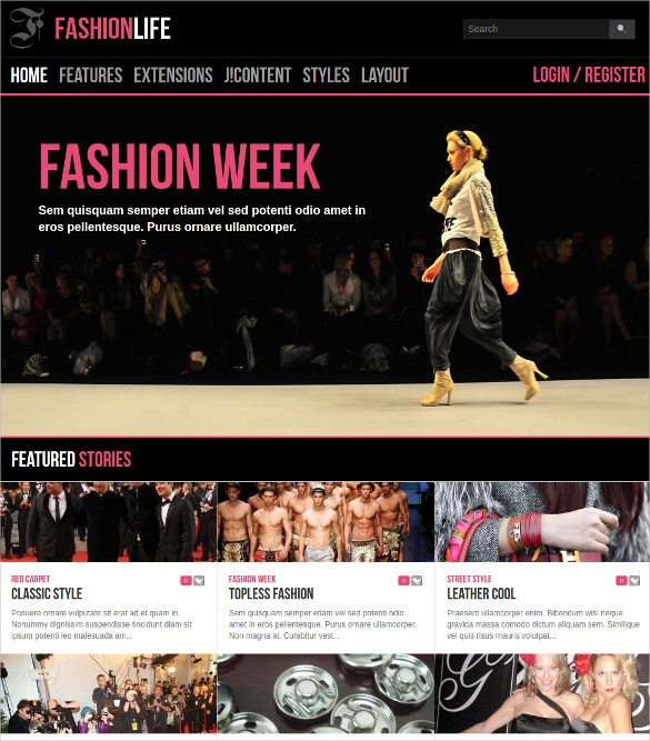fashion life joomla website template