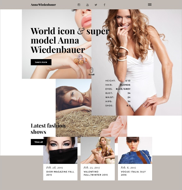 Fashion Model Portfolio Website Template $69