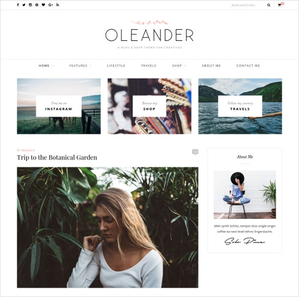 Fashion Feminine Blog & Shop Website Theme $49
