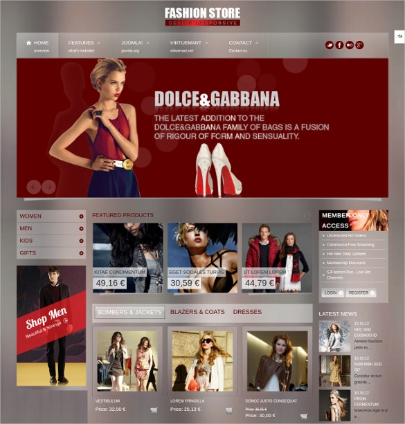 Responsive Joomla Fashion Store Website Template $39