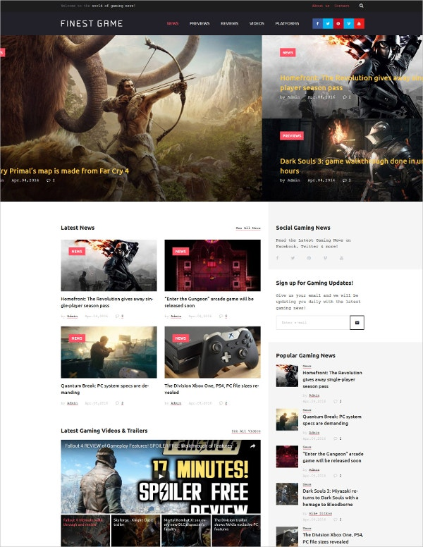 Game Portal Responsive WordPress Blog Theme