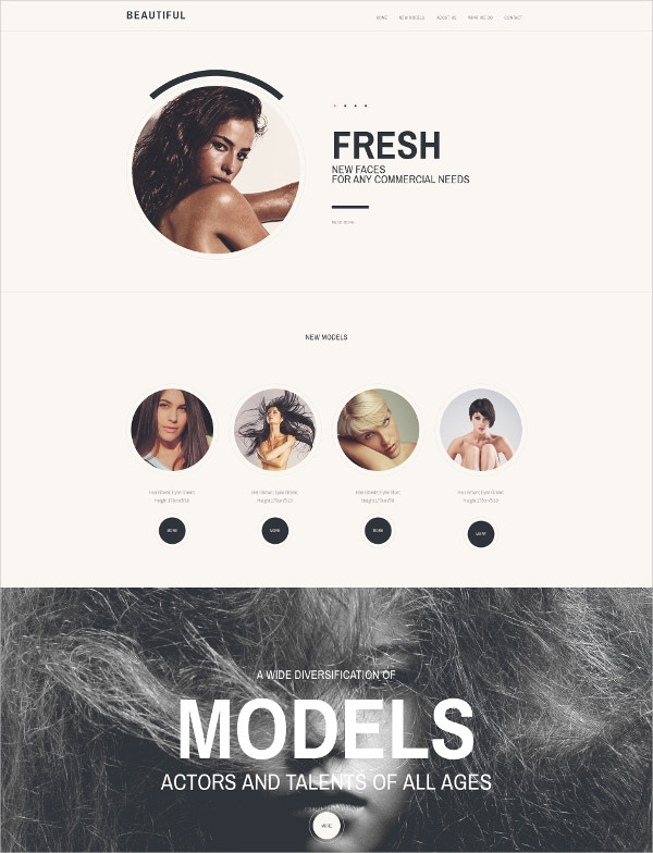 Model Agency Responsive Moto CMS 3 Blog Template