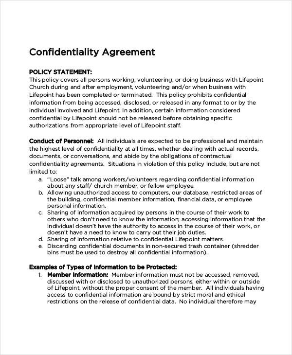 Church Confidentiality Agreement For Data