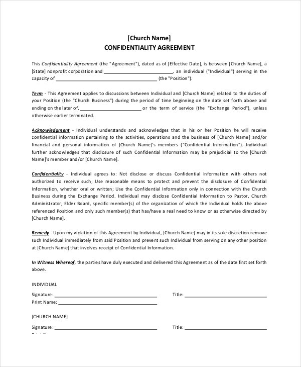 Church Confidentiality Agreement for Donor