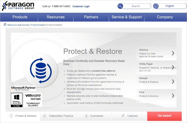 paragon server backup software