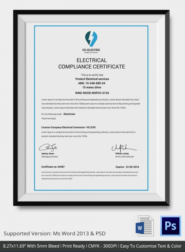 electrical compliance certificate template2