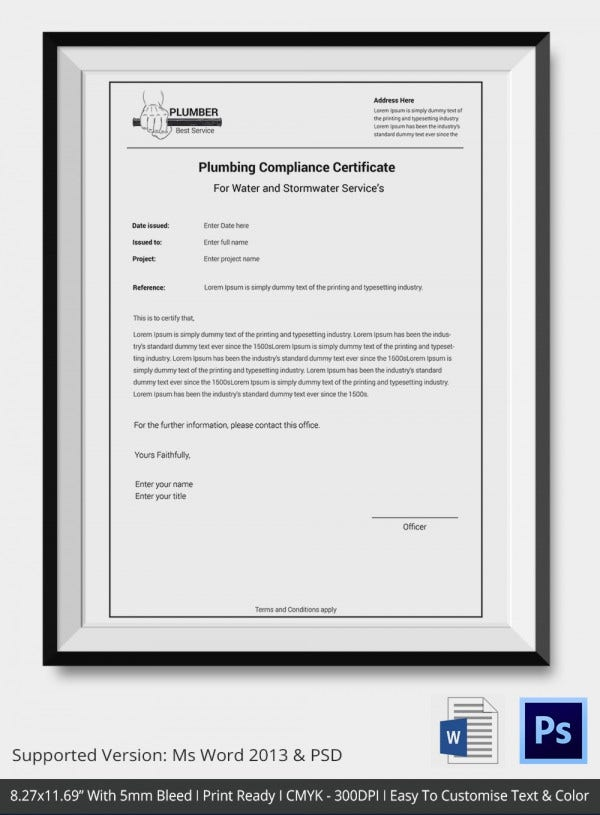 certificate of compliance template � 9 free word pdf