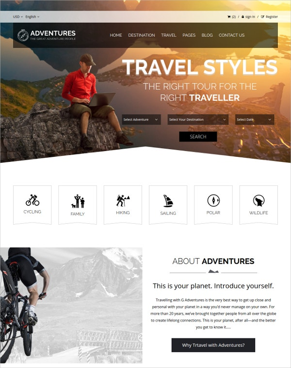 Adventures Tour HTML Blog Template