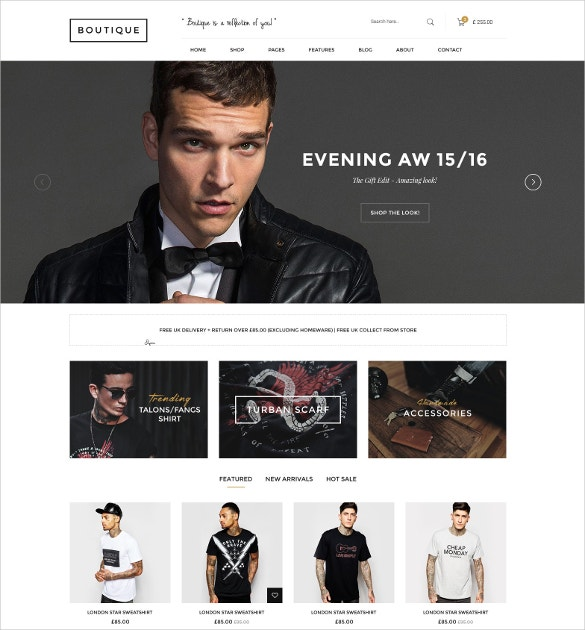 Boutique WooCommerce WordPress Website Theme $59