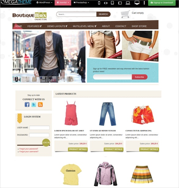 joomla boutique fashion store website template