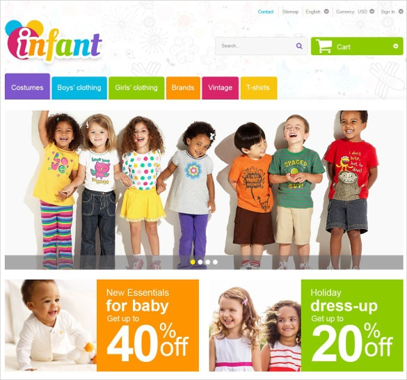 Kids Boutique Website PrestaShop Theme $139