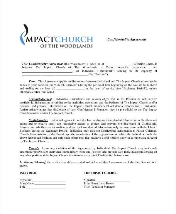 Church confidentiality agreement 9 free word pdf for Secrecy agreement template