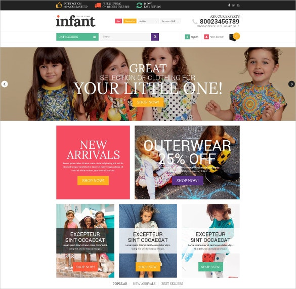 Kids Clothes PrestaShop Website Theme $139