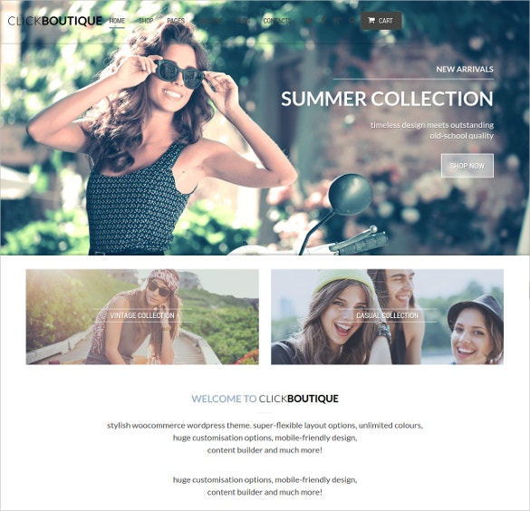Boutique Fashion Shop WordPress WooCommerce Website Theme $59