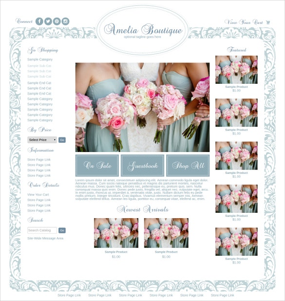Wedding Boutique Website Theme $85