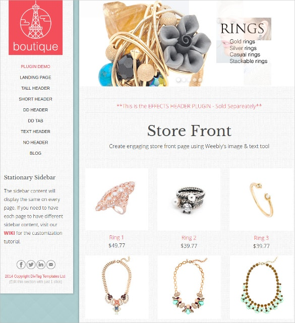 Beautiful Boutique Website Theme $44